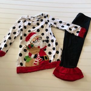 Boutique Christmas Outfit Santa Ruffles Girls 4T